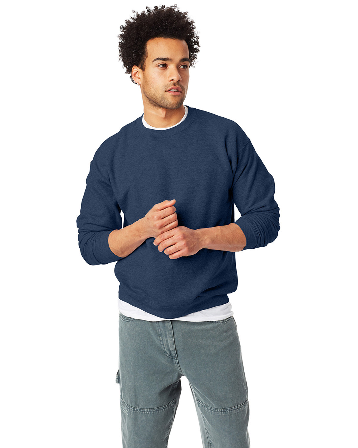 Hanes Unisex 7.8 oz., Ecosmart® 50/50 Crewneck Sweatshirt HEATHER NAVY