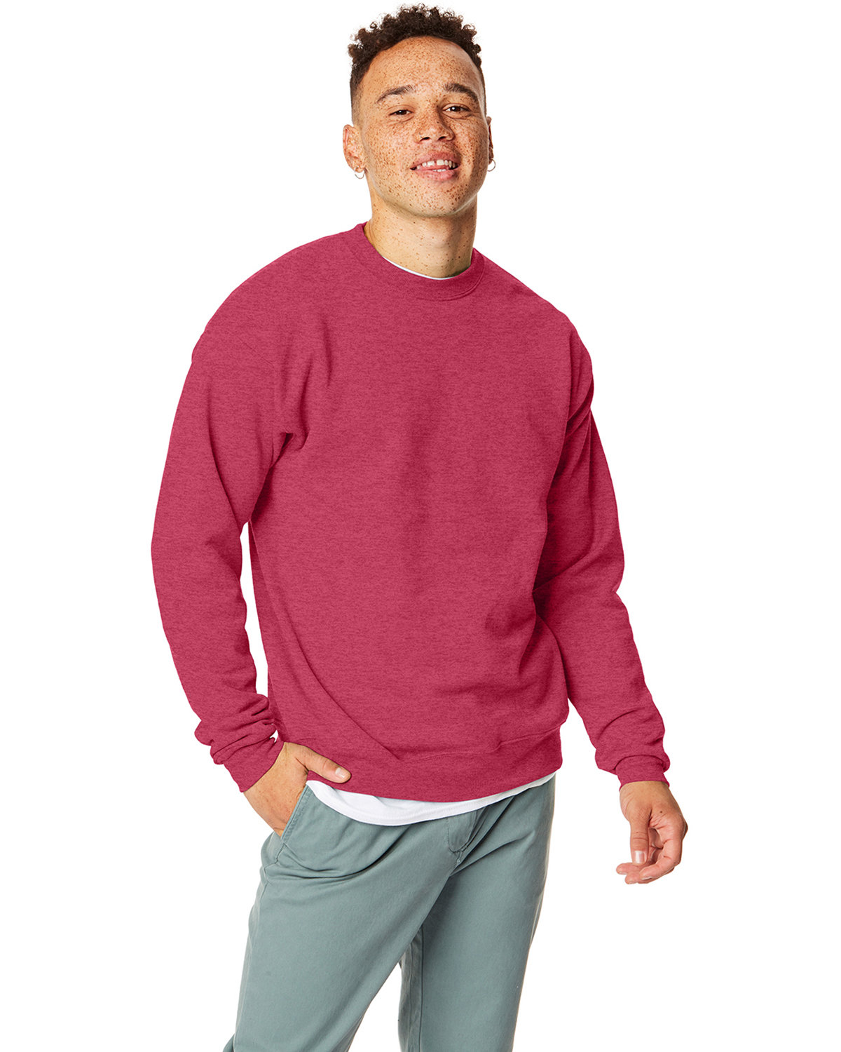 Hanes Unisex 7.8 oz., Ecosmart® 50/50 Crewneck Sweatshirt HEATHER RED