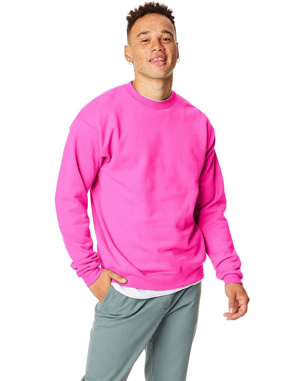 Hanes Unisex Ecosmart® 50/50 Crewneck Sweatshirt SAFETY PINK