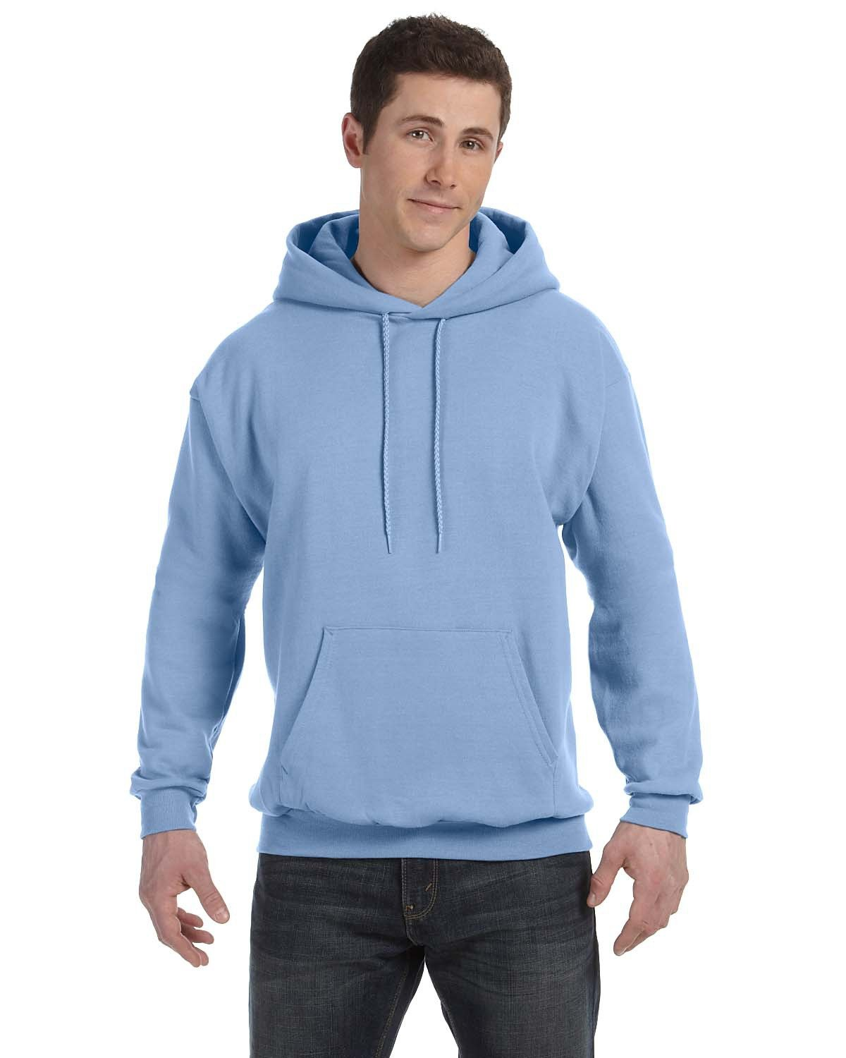 Hanes Unisex Ecosmart® 50/50 Pullover Hooded Sweatshirt LIGHT BLUE