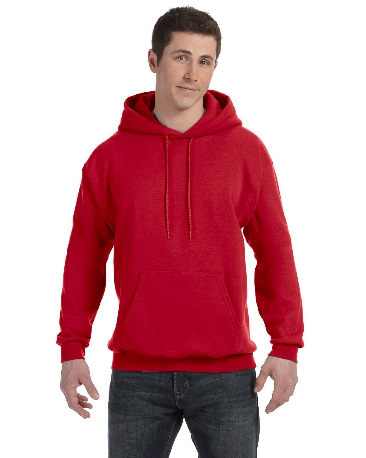 Hanes Unisex Ecosmart® 50/50 Pullover Hooded Sweatshirt DEEP RED