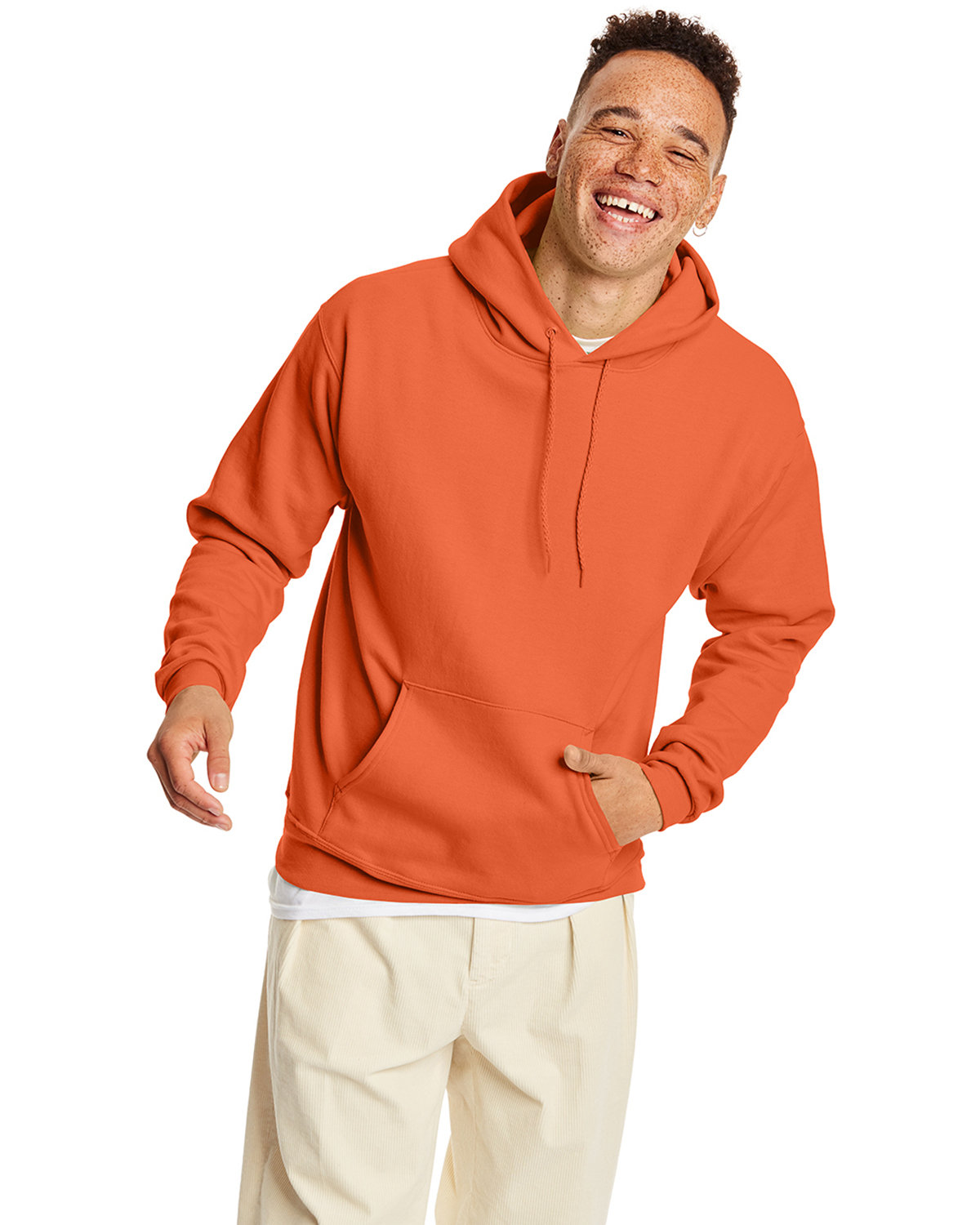 Hanes Unisex Ecosmart® 50/50 Pullover Hooded Sweatshirt RED PEPPER HTHR