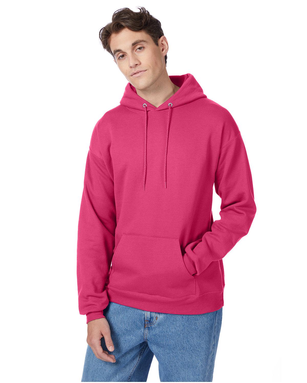 Hanes Unisex Ecosmart® 50/50 Pullover Hooded Sweatshirt WOW PINK