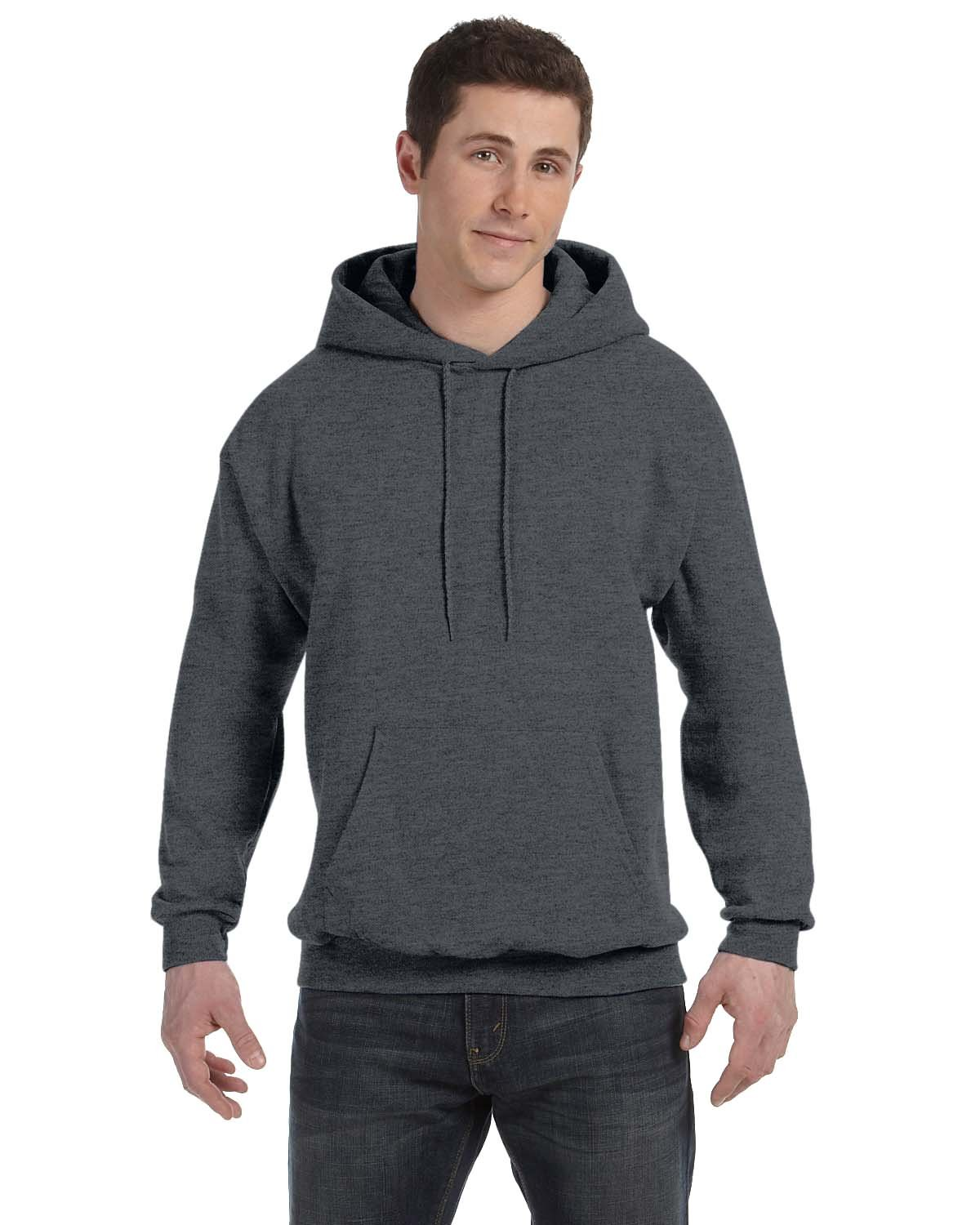 Hanes Unisex Ecosmart® 50/50 Pullover Hooded Sweatshirt CHARCOAL HEATHER