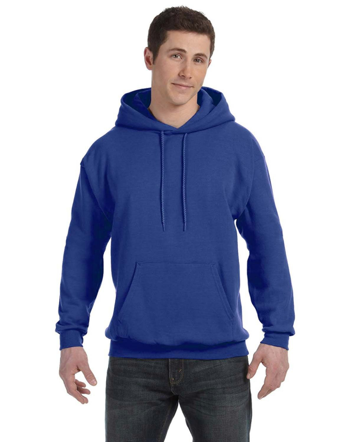 Hanes Unisex Ecosmart® 50/50 Pullover Hooded Sweatshirt DEEP ROYAL