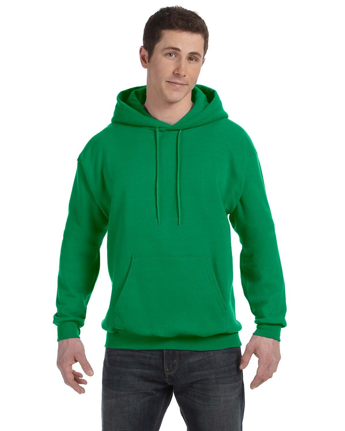 Hanes Unisex Ecosmart® 50/50 Pullover Hooded Sweatshirt KELLY GREEN