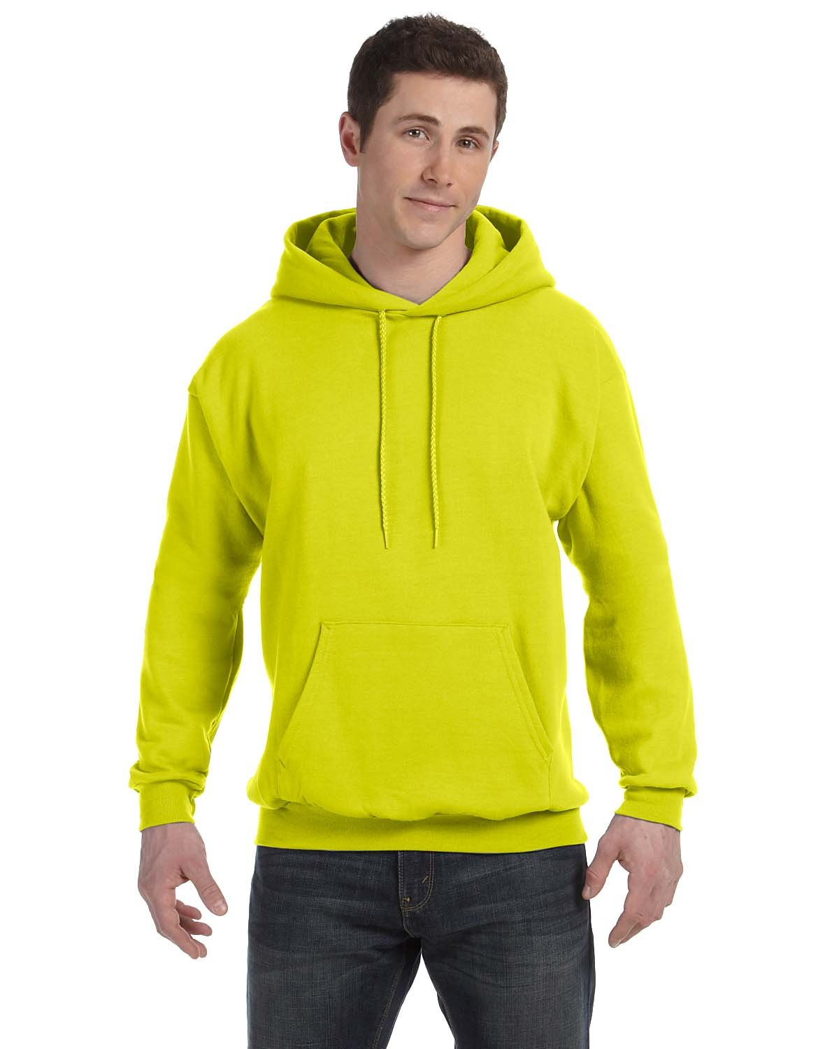 Hanes Unisex Ecosmart® 50/50 Pullover Hooded Sweatshirt SAFETY GREEN