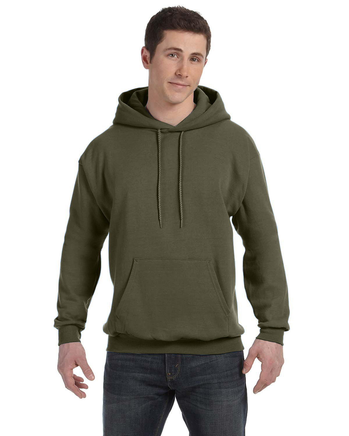 Hanes Unisex Ecosmart® 50/50 Pullover Hooded Sweatshirt FATIGUE GREEN