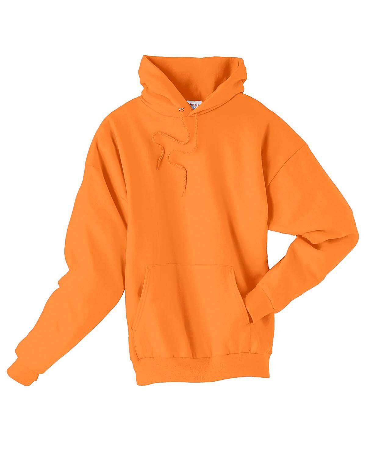 Hanes Unisex Ecosmart® 50/50 Pullover Hooded Sweatshirt SAFETY ORANGE