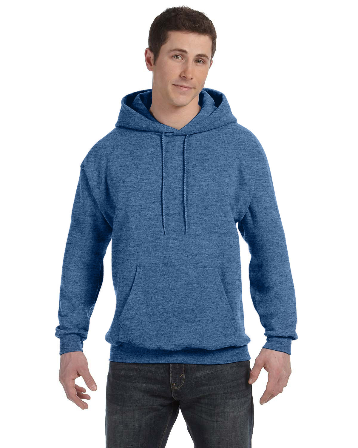 Hanes Unisex Ecosmart® 50/50 Pullover Hooded Sweatshirt HEATHER BLUE