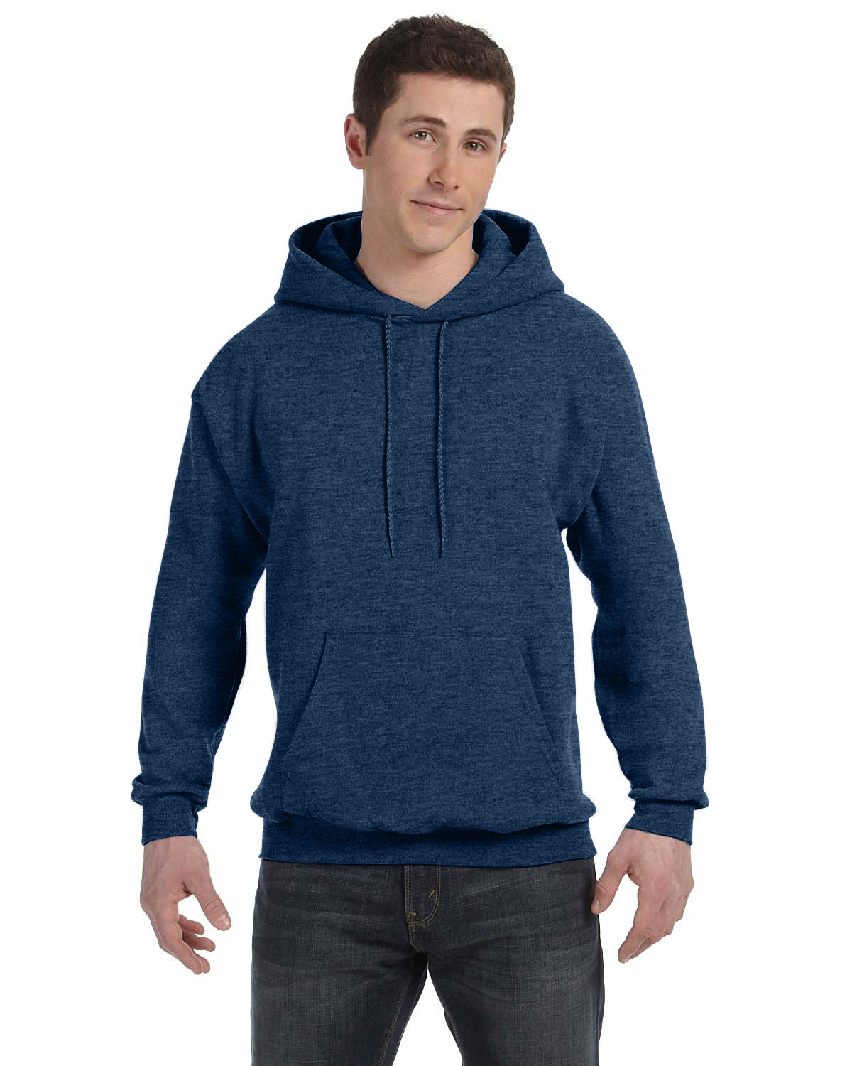 Hanes Unisex Ecosmart® 50/50 Pullover Hooded Sweatshirt HEATHER NAVY