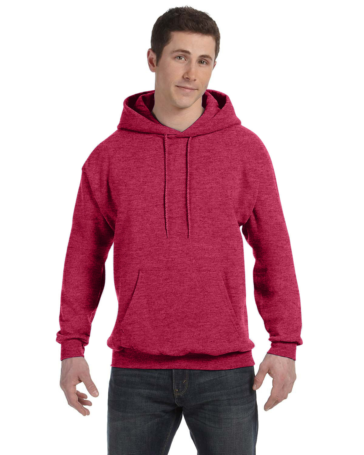 Hanes Unisex Ecosmart® 50/50 Pullover Hooded Sweatshirt HEATHER RED