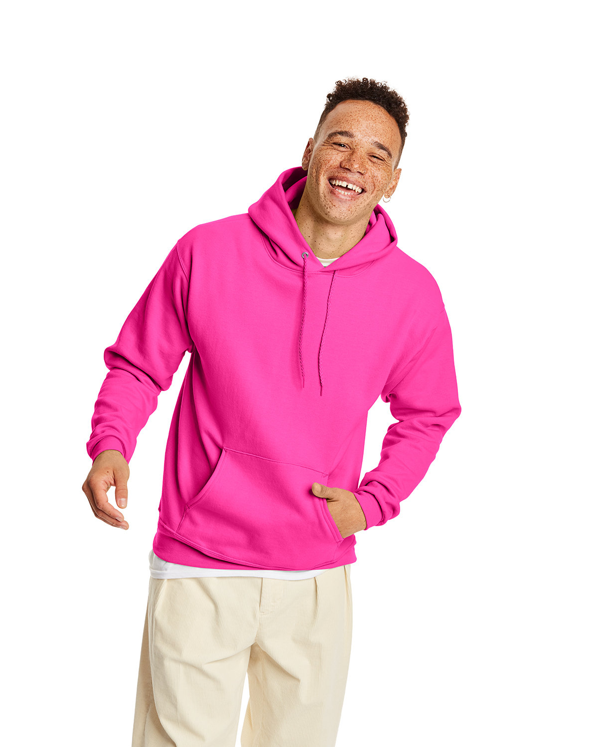 Hanes Unisex Ecosmart® 50/50 Pullover Hooded Sweatshirt SAFETY PINK