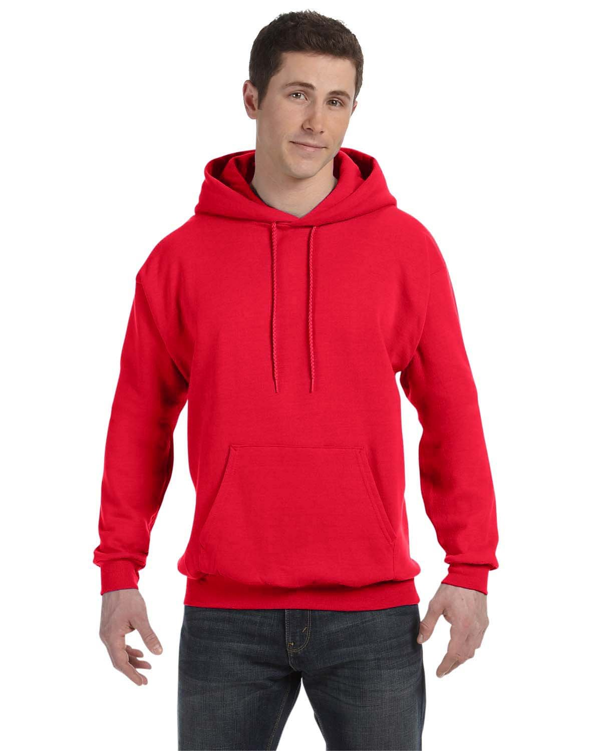 Hanes Unisex Ecosmart® 50/50 Pullover Hooded Sweatshirt ATHLETIC RED