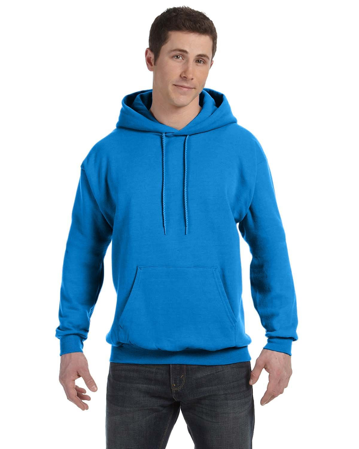 Hanes Unisex Ecosmart® 50/50 Pullover Hooded Sweatshirt BLUEBELL BREEZE