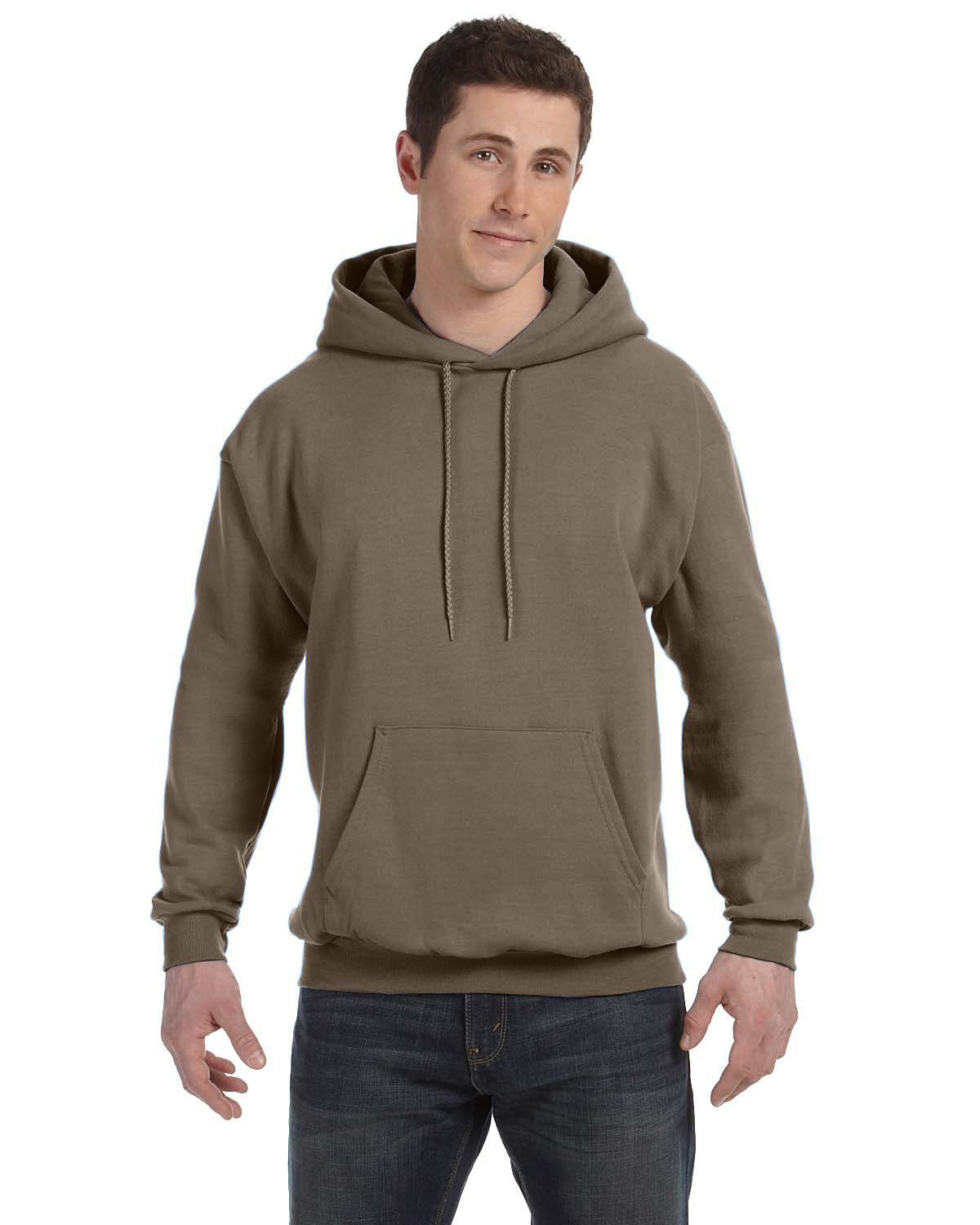 Hanes Unisex Ecosmart® 50/50 Pullover Hooded Sweatshirt ARMY BROWN