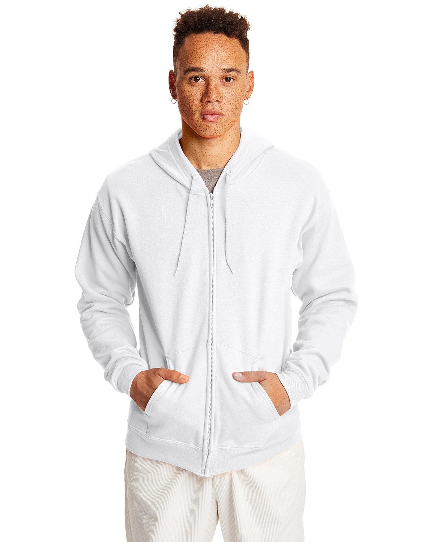 Hanes Adult EcoSmart® 50/50 Full-Zip Hooded Sweatshirt WHITE