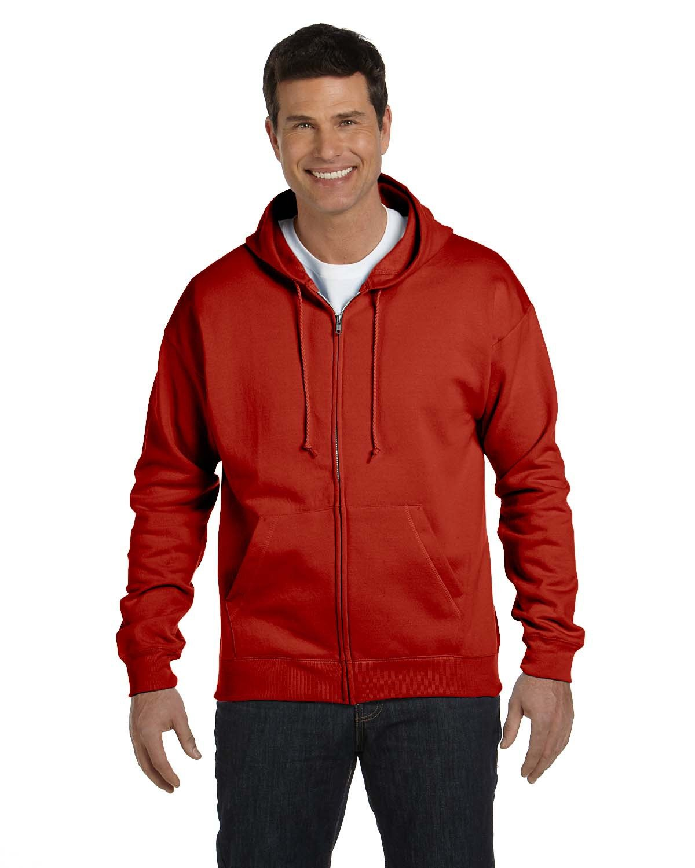 Hanes Adult EcoSmart® 50/50 Full-Zip Hooded Sweatshirt DEEP RED