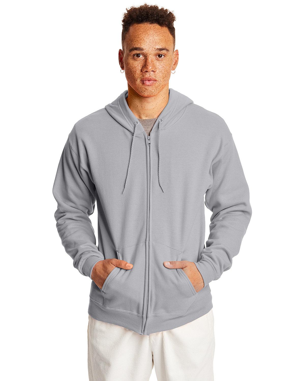 Hanes Adult EcoSmart® 50/50 Full-Zip Hooded Sweatshirt LIGHT STEEL