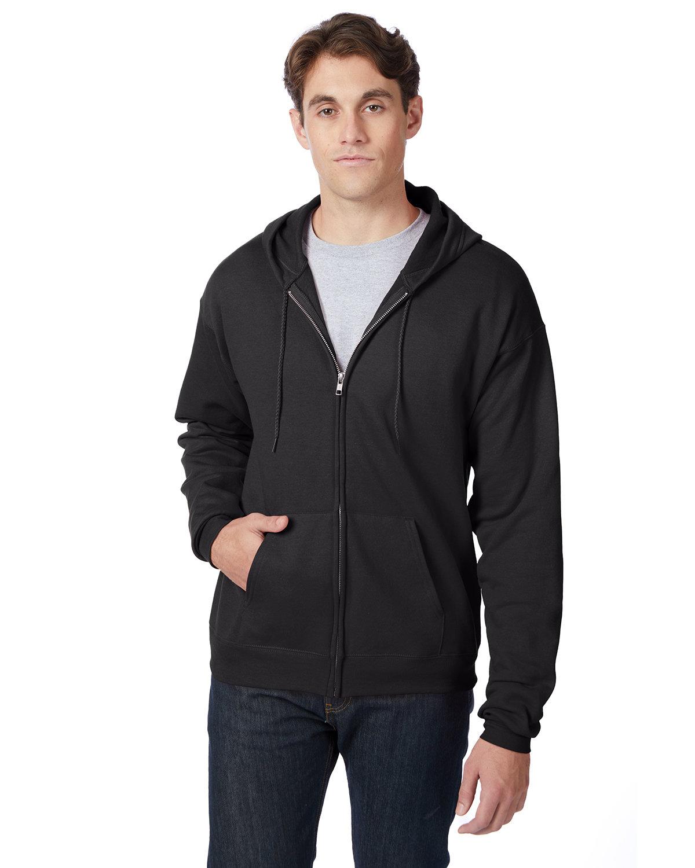 Hanes Adult EcoSmart® 50/50 Full-Zip Hooded Sweatshirt BLACK