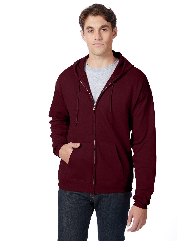 Hanes Adult EcoSmart® 50/50 Full-Zip Hooded Sweatshirt MAROON