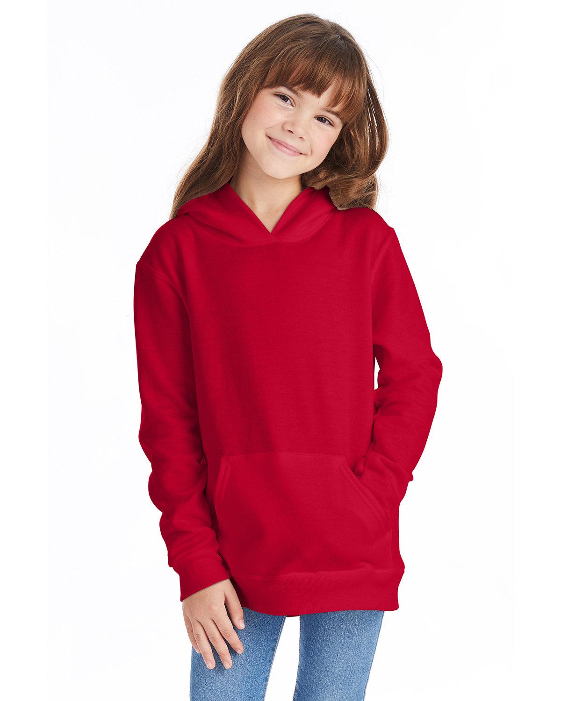 Hanes Youth EcoSmart® 50/50 Pullover Hooded Sweatshirt DEEP RED