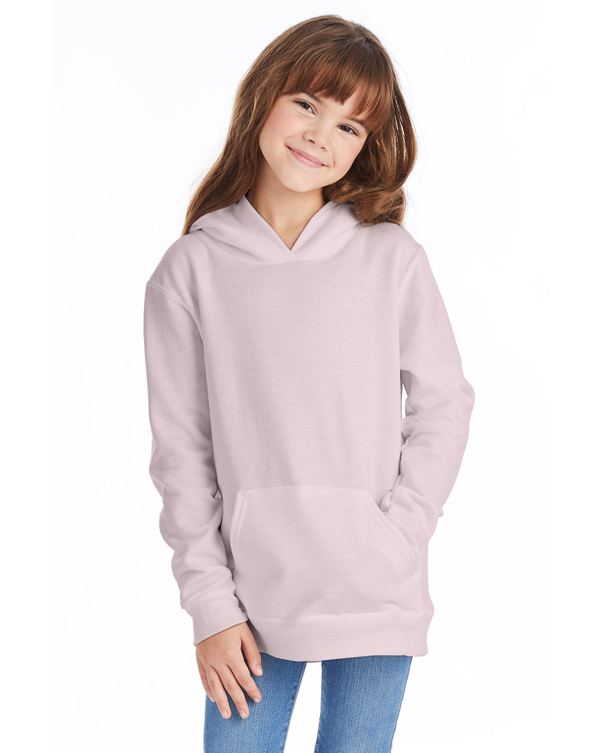 Hanes Youth EcoSmart® 50/50 Pullover Hooded Sweatshirt PALE PINK