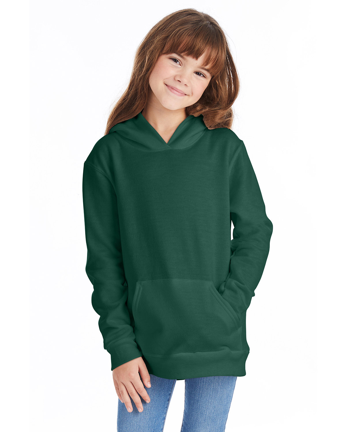 Hanes Youth EcoSmart® 50/50 Pullover Hooded Sweatshirt DEEP FOREST