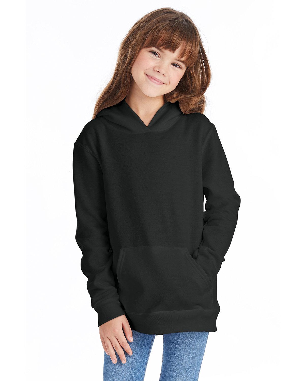 Hanes Youth EcoSmart® 50/50 Pullover Hooded Sweatshirt BLACK