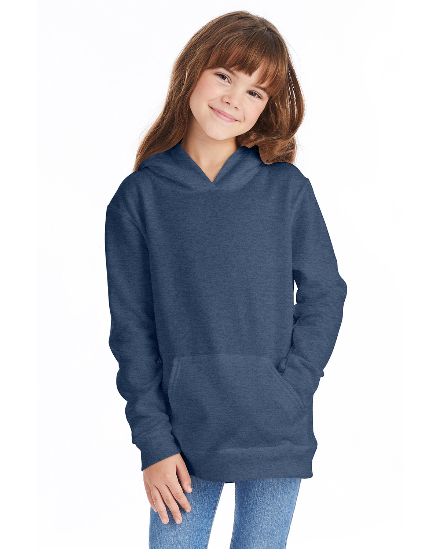 Hanes Youth EcoSmart® 50/50 Pullover Hooded Sweatshirt HEATHER NAVY