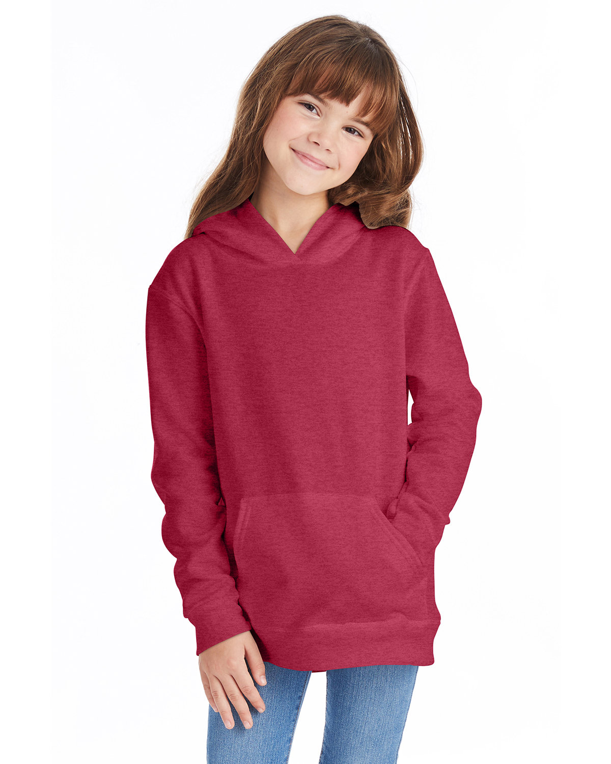 Hanes Youth EcoSmart® 50/50 Pullover Hooded Sweatshirt HEATHER RED