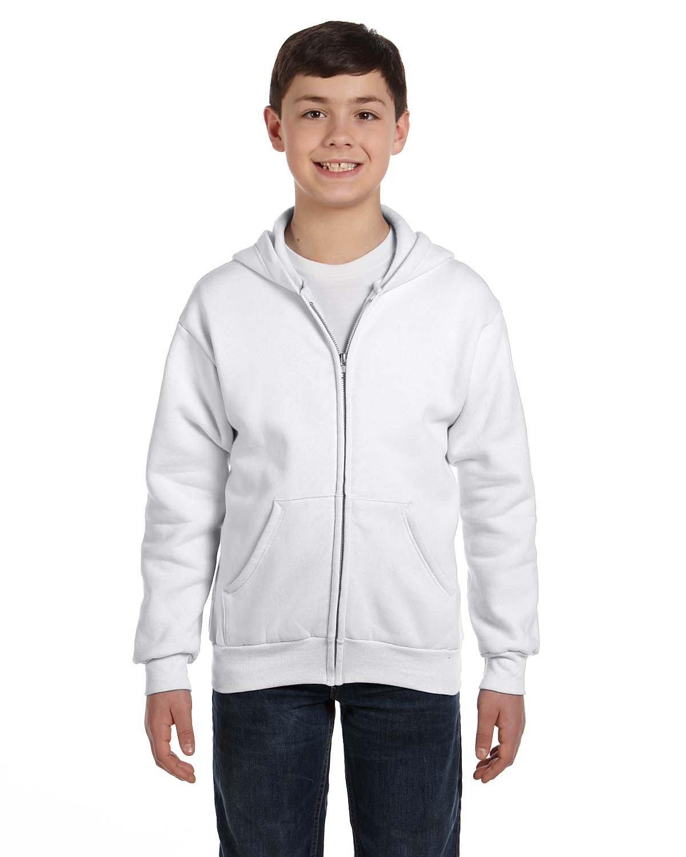 Hanes Youth EcoSmart® 50/50 Full-Zip Hooded Sweatshirt WHITE