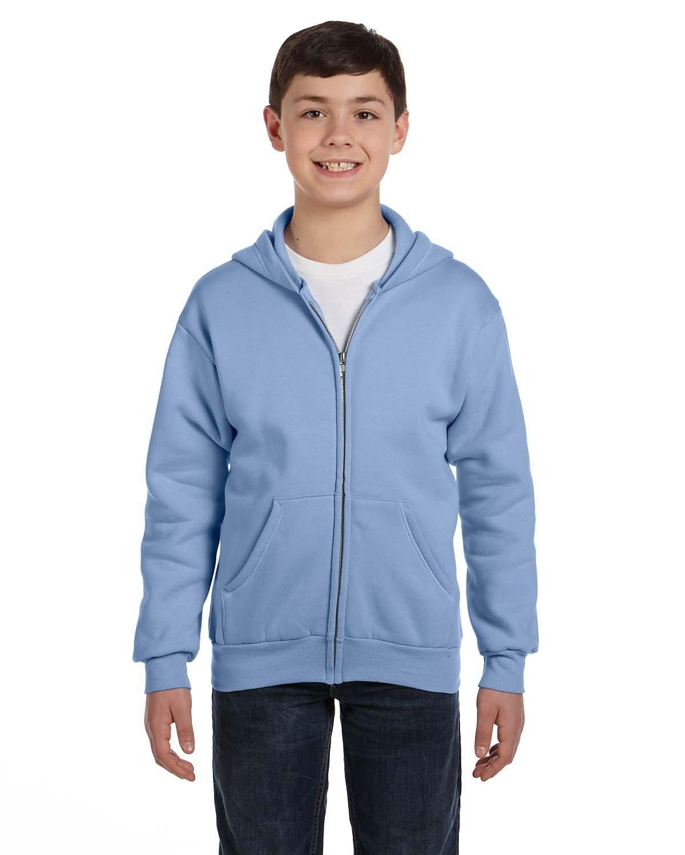 Hanes Youth EcoSmart® 50/50 Full-Zip Hooded Sweatshirt LIGHT BLUE