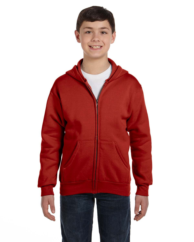 Hanes Youth EcoSmart® 50/50 Full-Zip Hooded Sweatshirt DEEP RED
