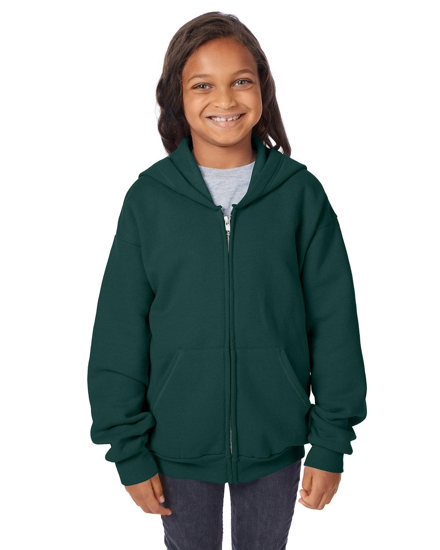 Hanes Youth EcoSmart® 50/50 Full-Zip Hooded Sweatshirt DEEP FOREST