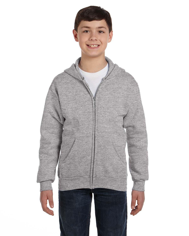 Hanes Youth EcoSmart® 50/50 Full-Zip Hooded Sweatshirt LIGHT STEEL