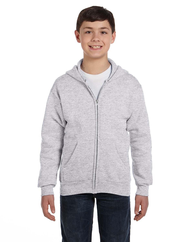 Hanes Youth EcoSmart® 50/50 Full-Zip Hooded Sweatshirt ASH