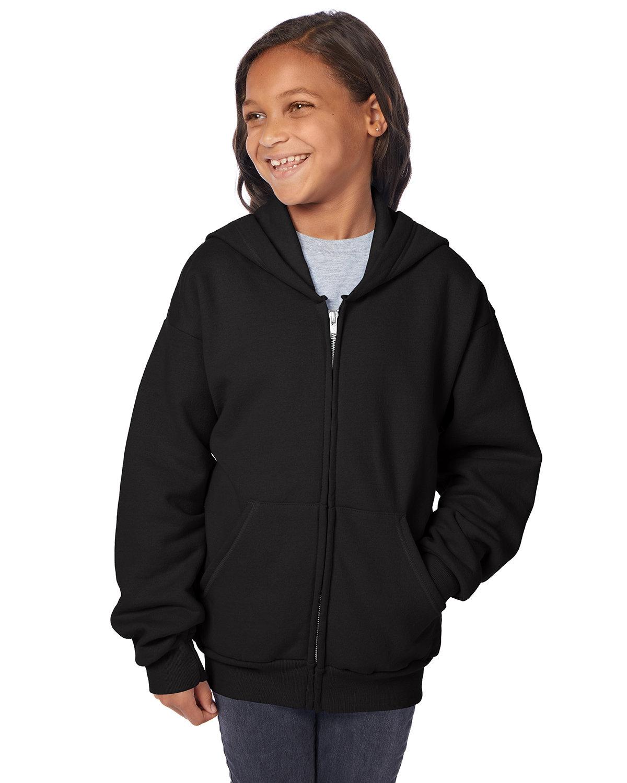 Hanes Youth EcoSmart® 50/50 Full-Zip Hooded Sweatshirt BLACK