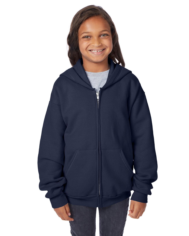 Hanes Youth EcoSmart® 50/50 Full-Zip Hooded Sweatshirt NAVY