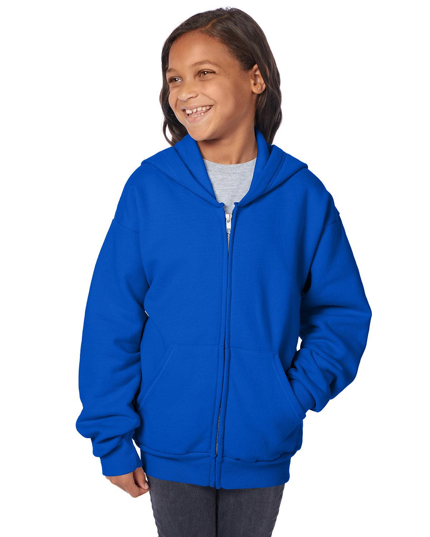 Hanes Youth EcoSmart® 50/50 Full-Zip Hooded Sweatshirt DEEP ROYAL