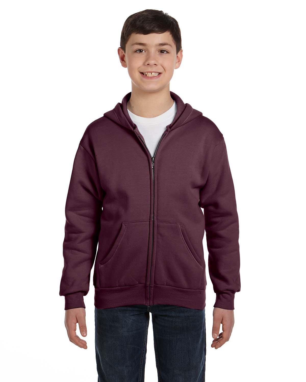 Hanes Youth EcoSmart® 50/50 Full-Zip Hooded Sweatshirt MAROON