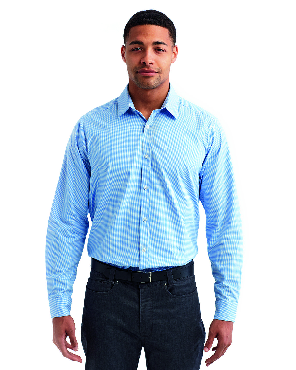 Artisan Collection by Reprime Men's Microcheck Gingham Long-Sleeve Cotton Shirt LT BLUE/ WHITE