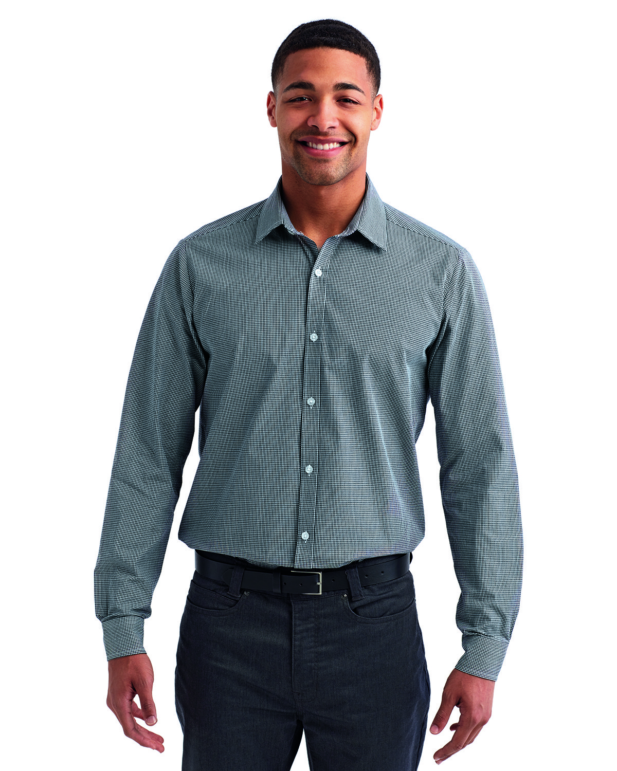 Artisan Collection by Reprime Men's Microcheck Gingham Long-Sleeve Cotton Shirt BLACK/ WHITE
