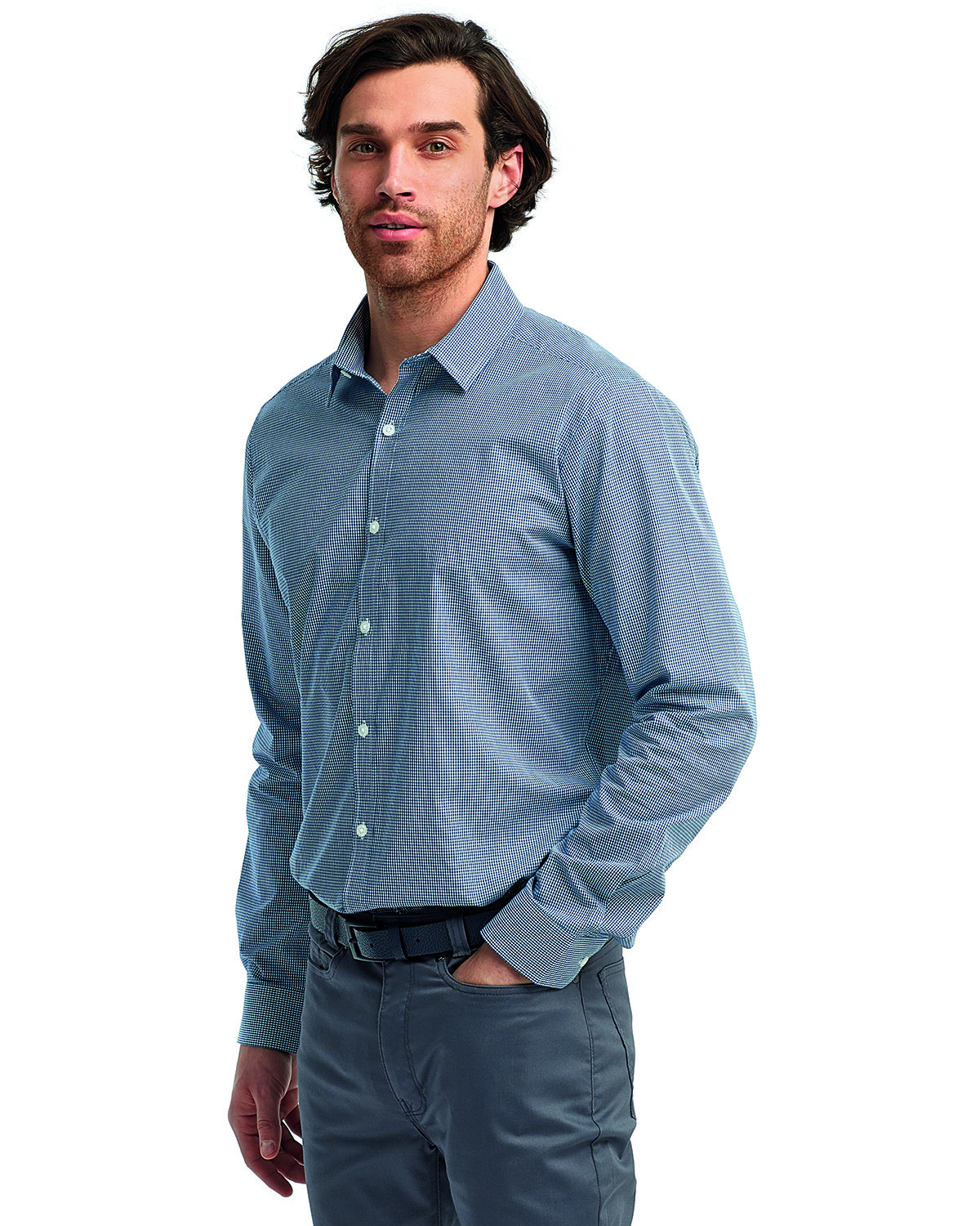 Artisan Collection by Reprime Men's Microcheck Gingham Long-Sleeve Cotton Shirt NAVY/ WHITE