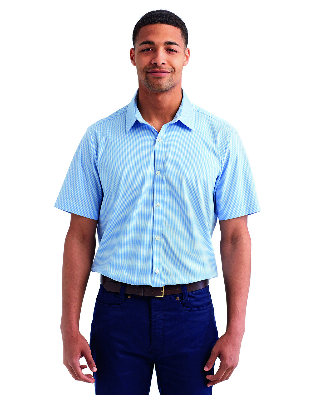 Artisan Collection by Reprime Mens Microcheck Gingham Short-Sleeve Cotton Shirt LT BLUE/ WHITE