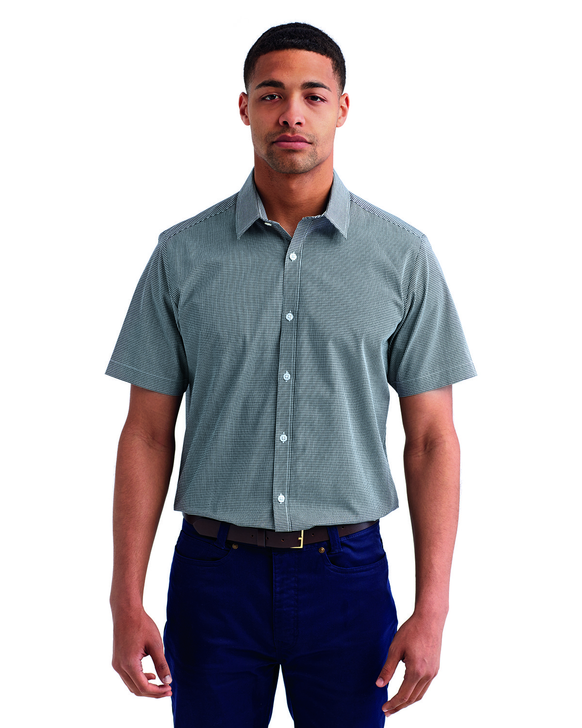 Artisan Collection by Reprime Mens Microcheck Gingham Short-Sleeve Cotton Shirt BLACK/ WHITE