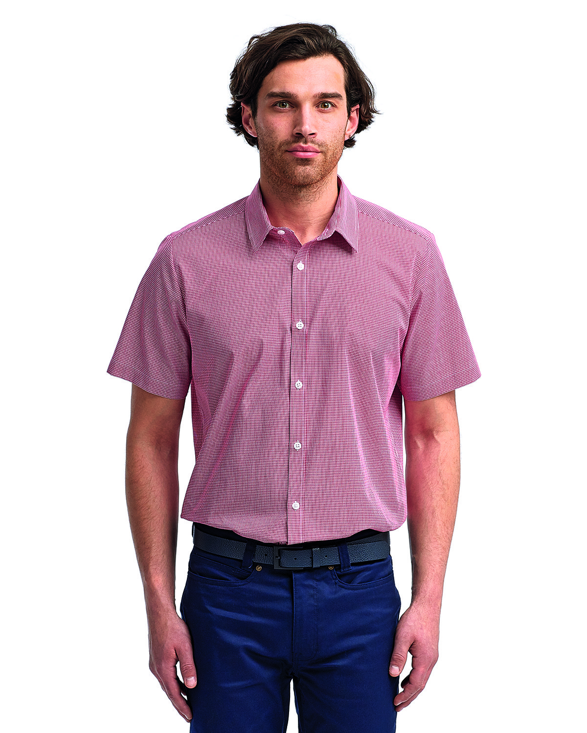 Artisan Collection by Reprime Mens Microcheck Gingham Short-Sleeve Cotton Shirt RED/ WHITE