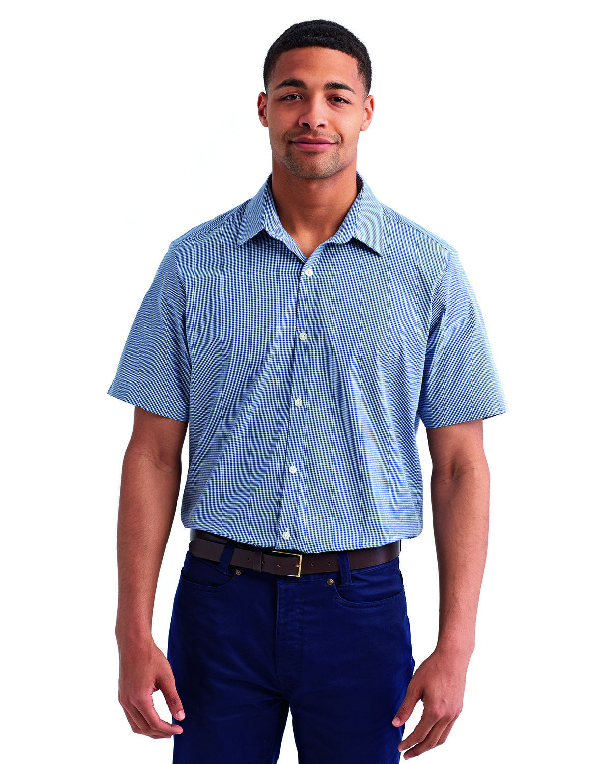 Artisan Collection by Reprime Mens Microcheck Gingham Short-Sleeve Cotton Shirt NAVY/ WHITE