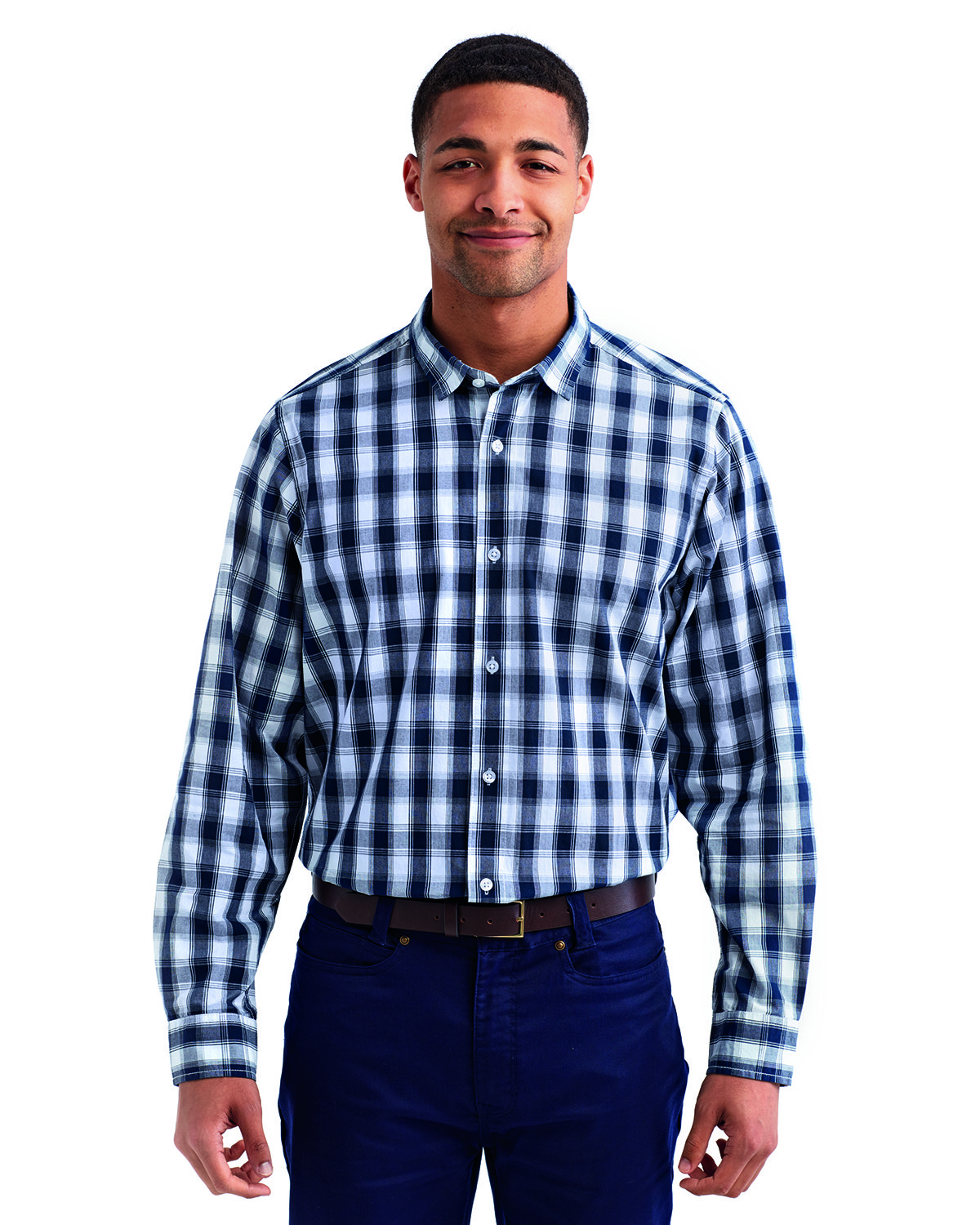 Artisan Collection by Reprime Men's Mulligan Check Long-Sleeve Cotton Shirt WHITE/ NAVY