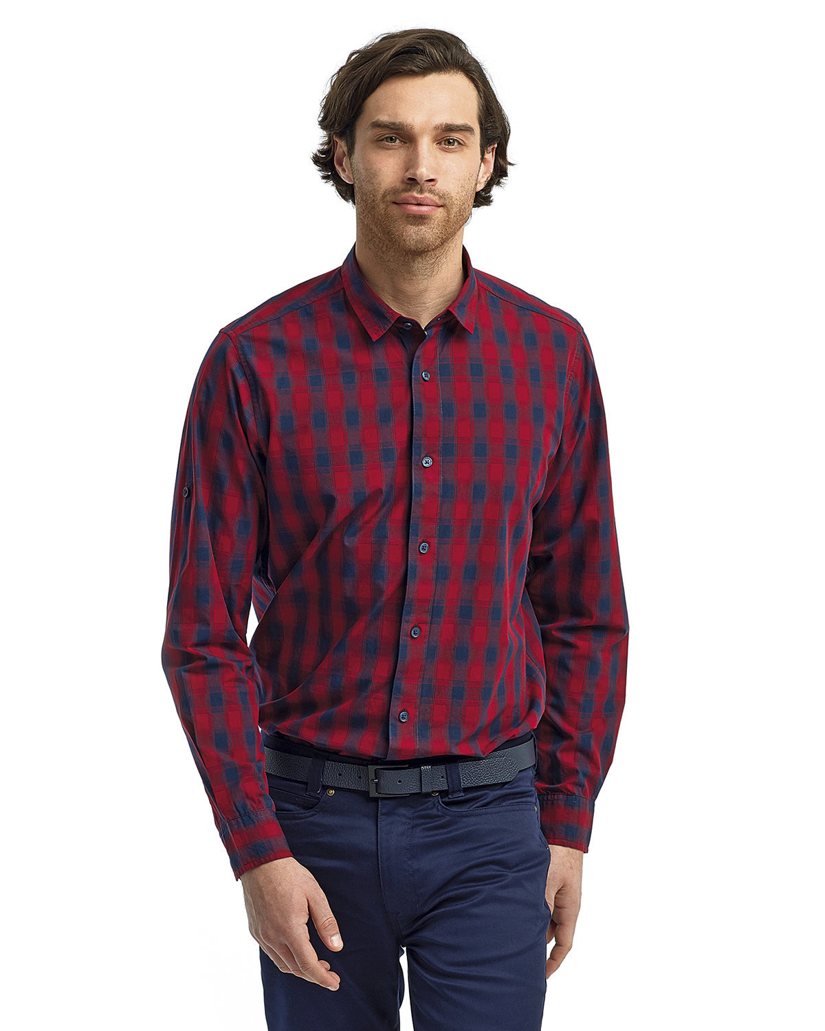Artisan Collection by Reprime Men's Mulligan Check Long-Sleeve Cotton Shirt RED/ NAVY